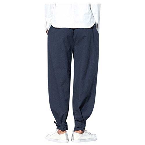Janly Clearance Sale Pantalones de hombre de color puro algodn lino pies pequeos sueltos casual linterna pantaln