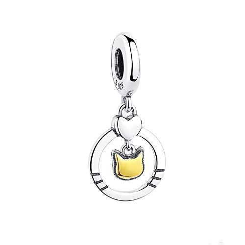 LILIANG Charm Jewelry Trendy 925 Sterling Silver Circle Round Charm Bead con Gold Cat Fit Charm Bracelet DIY Joyería Original