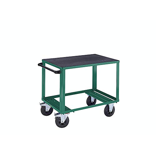 EUROKRAFTpro Premium-Montagewagen | Rollwagen | Werkstattwagen, 1 Ladefläche aus Kunststoff, Ladefläche 1050 x 700 mm, Gestell türkisgrün