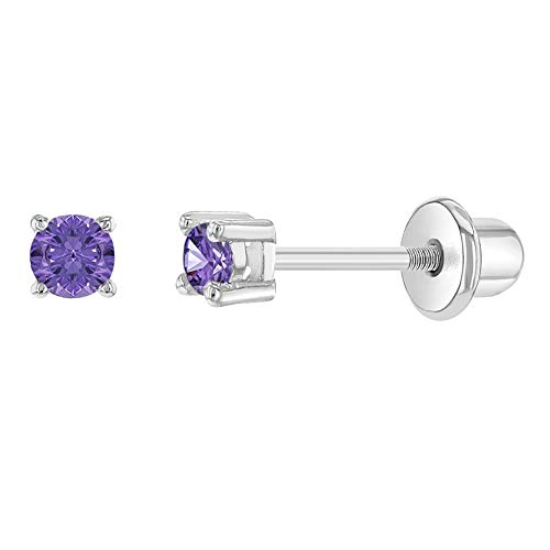 Rhodium Plated 2mm Purple Cubic Zirconia Screw Back Earrings for Newborns, Babies, Infants, Toddlers & Little Girls - Lightweight & 100% Safe for Baby Girls with Sensitive Ears
