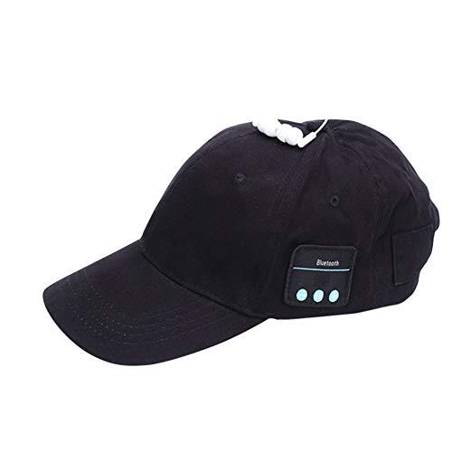 alsu3luy02Ld Anti-UV Sommer Baseball Cap Bluetooth Kopfhörer Sun Hat Smart Wireless Headset, Schwarz