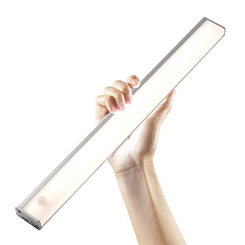 Iluminación LED para armario con detector de movimiento, luz para cocina, luz LED para armario, detector de movimiento, barra de luz, batería recargable por USB, 2400 mA (plata de 4000 K, 40 cm)