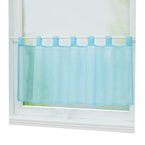 Joyswahl Scheibengardine Voile Bistrogardine »Eva« Unifarbige Kurzstore Transparente Gardine Stores HxB 45x90cm Blau 1er Pack