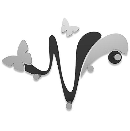 CalleaDesign - Appendiabiti da Parete Farfalla, Colore: Nero