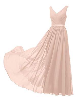 Alicepub V-Neck Chiffon Blush Bridesmaid Dress Long Party Prom Evening Dress Sleeveless, Pearl Pink, US10