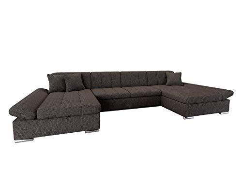 Ecksofa Alia mit Regulierbare Armlehnen, 2 Bettkasten und Schlaffunktion, U-Form Eckcouch vom Hersteller, Sofa Couch Wohnlandschaft (Majorka 02)