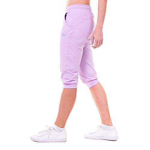 Sportkind Mädchen & Damen 3/4 Jogginghose mit Bündchen & Taschen, atmungsaktive Sport Caprihose ideal für Yoga, Tennis, Fitness, Flieder, Gr. 146