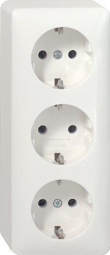 Gira 078913 Schuko stopcontact 3-voudig opbouw, zuiver wit