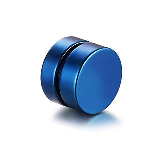 Tsubaya Pendientes de Clip magnéticos con imán de Moda Vintage para Hombre Pendientes de Clip sin Piercing Pendientes Falsos para Amante del Novio - Azul - 6 mm