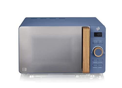 Swan Nordic - Microonde digitale da 20 l, 6 livelli di funzionamento, 800 W, timer da 30 min, facile da pulire, modalità scongelamento, design moderno, maniglia effetto legno, blu opaco