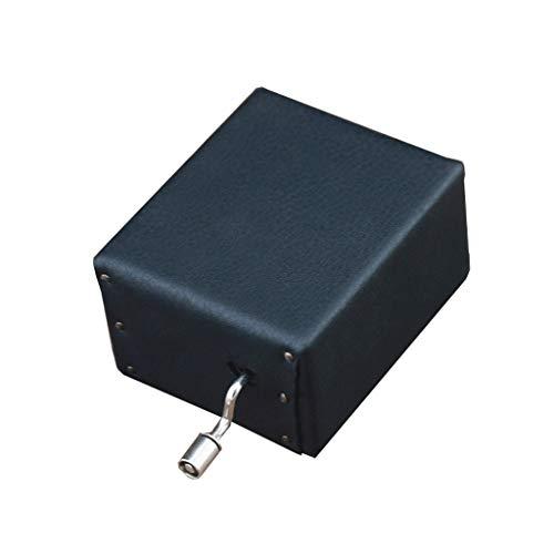 JJH Agraciado Caja de música de Cuero DIY Mini Caja de música con manivela Caja de música Retro Hecha a Mano Caja de música Sky City Regalo Sonido Atractivo (Color : Black)