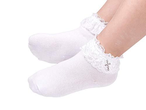 Flora Calcetines hasta el tobillo para niña, blanco, L