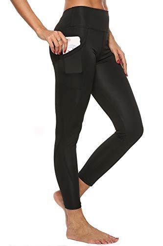 4How Damen Sport Leggings mit Handytaschen High Waist Fitness Yogahose Lange Blickdichte Sporthose Strumpfhose,Schwarz,XL