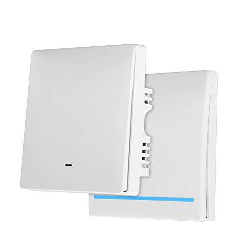Konesky Interruptor Inteligente Wi-Fi, APP y Control de Voz, Interruptor WiFi compatible con Alexa Google Home, Sin necesidad de línea neutral, 1 Interruptor principal y 1 Interruptor secundario