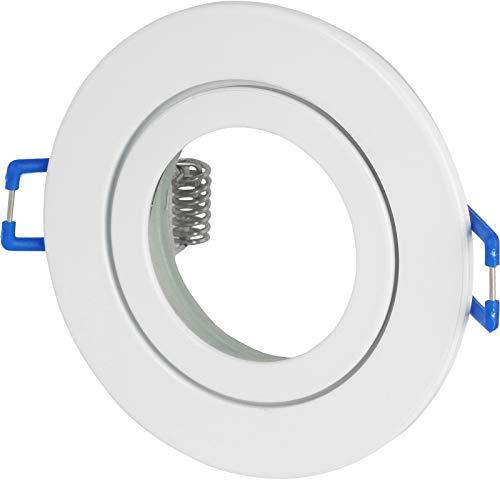 Spot IP44 aluminium inbouwspot - wit rond - met kliksluiting en glazen afdekking - voor vochtige ruimtes badkamer