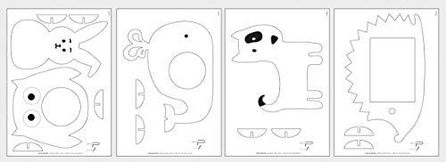Rayher 62912505 Laubsägevorlagen Tiere, mit Sperrholzplatten, Motiv für Laubsägearbeiten, 300x200x4 mm