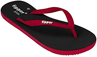 fipper Slipper Slim Rubber Thongs Black Red Womens Sizes