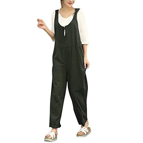 PinkLu Jumpsuit Damen Sommer Große Größe,LäSsiger Stil Taste ÄRmellose Latzhose Lose Baumwolle Langer Overall Hose Braun/Grau/Khaki/Grün
