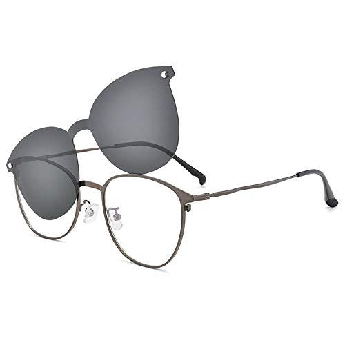FRGTHYJ Magnetclip auf Sonnenbrille Polarisierte runde Brille Herren Ultraleichte Brille Optische Rahmenbrille