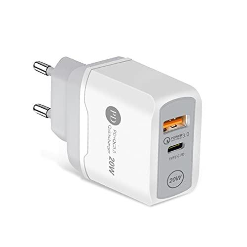 Ygerbkct Cargador USB de Carga rápida PD QC3.0 20W Carga rápida para iPhone 12 Pro MAX para Samsung para Xiaomi Cargador Tipo C
