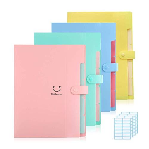 4 carpetas De colores expandibles para tamaño A4 carta, organizador de papel de plástico con cierre de acordeón con 5 bolsillos, soporte Para Documentos de Sonrisa para Oficina, Escuela, Viajes