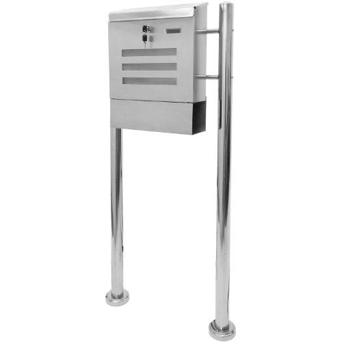 Maxstore STILISTA Briefkasten V2A Edelstahl Standbriefkasten mit Zeitungsfach, Postkasten unterschiedliche Designs, Höhe 120-144cm, Schwere Qualität (6-8kg) - 40100023