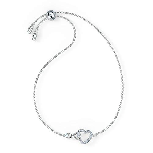 Swarovski Women's Infinity Heart Bracelet, Brilliant White Crystals in a Heart Shape with an Infinity Sign and a Rhodium Plated Chain