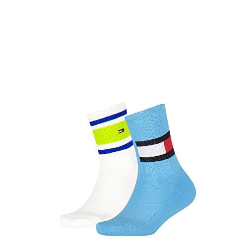Tommy Hilfiger Flag Kids Socks (2-Pack) Calcetines, Blue Combo, 31/34 para Niños