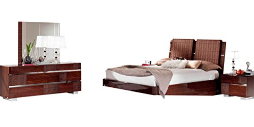 Best Bargain Soflex Azaria Glossy Walnut Crocodile Accents Bedroom Set 5Ps Contemporary Modern (Quee...