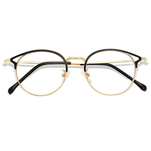 SOJOS Blaulichtfilter Brille PC Gaming Brille ohneStärke Katzenaugen Oasis SJ5035 mit Schwarz und Gold Rahmen/Anti-Blaulicht Linse