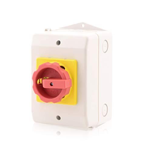 Hauptschalter im Gehäuse Lasttrennschalter 4-polig 40A Reparaturschalter Not-Aus-Schalter Premium Version VDE CE UL CSA