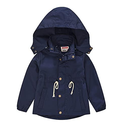 CLKE Niños Niñas Chaquetas Niños Rosa Azul Caqui Verde Windbreaker Impermeable Abrigos con Capucha Outwear Edad 3 4 5 6 7 8 años, azul marino, 120 cm