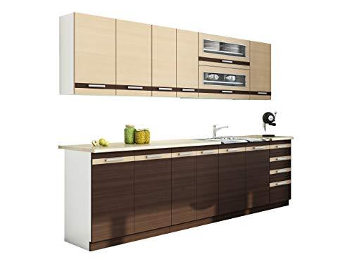 Mirjan24 Küche Lungo/Macchiato bis 260 cm mit Arbeitsplatte, Küchenblock/Küchenzeile, 8...