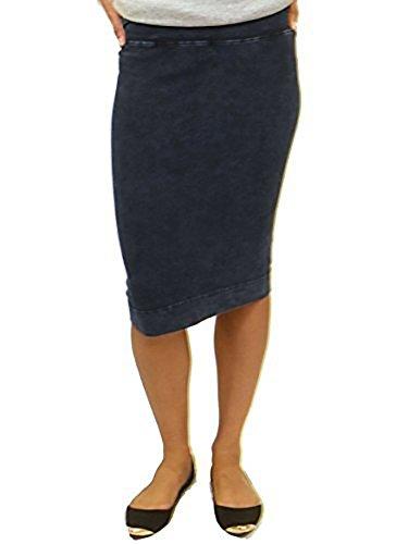 Hard Tail Forever Pull On Pencil Skirt, Cotton, Knee Length Style W-321 S Dark Denim