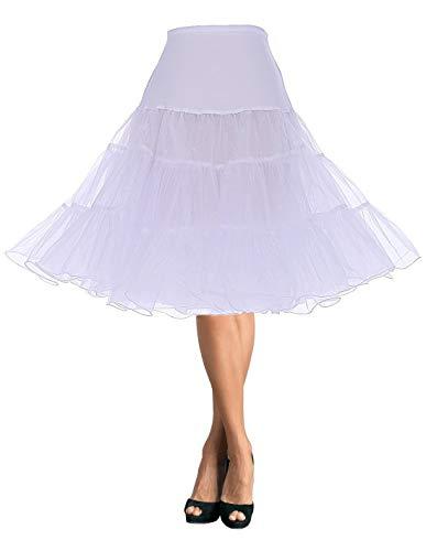 DaisyFormals レディース フリルいっぱい ふわふわパニエ ショート丈 3段パニエ フリルいっぱい カラースカート ロング66cm丈 フラ スカート- White,SM
