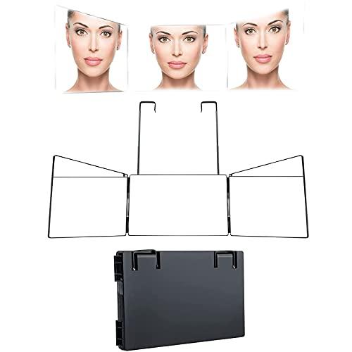 3-Wege-Spiegel zum Schneiden von Haaren Männer, 360-Grad-3-Wege-Make-up-Kosmetikspiegel zum Schneiden, Trimmen oder Rasieren von Kopf und Ausschnitt zu Hause Verstellbar, tragbar