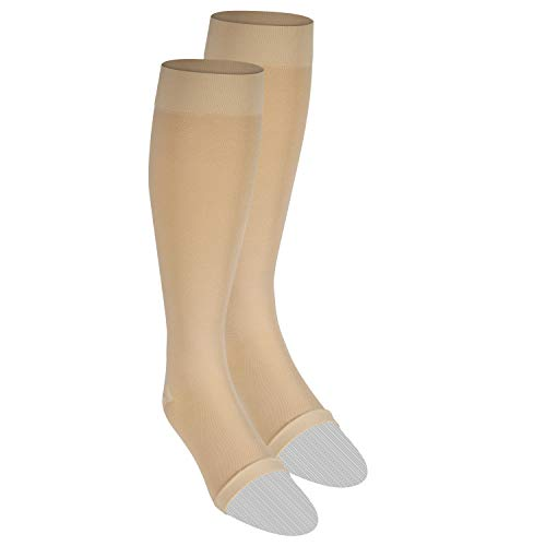 of compression socks dec 2021 theres one clear winner Nuvein Compression Socks for Women and Men, Medical Support Stockings, Beige Open Toe, Medium 20-30 mmHg