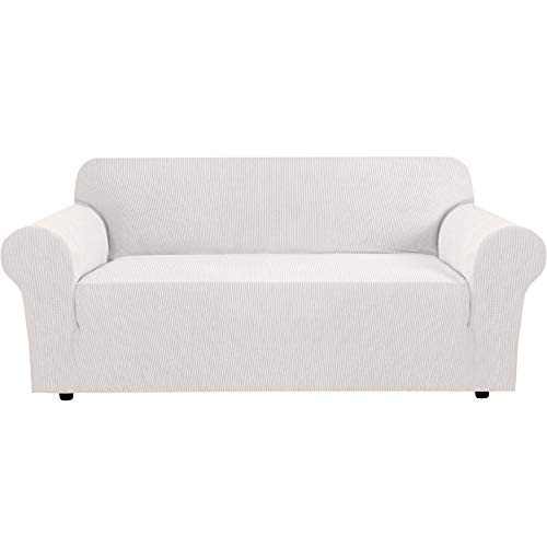 Stretch Sofa Cover Couch Covers Sofa Covers for 3 Cushion Couch Sofa Protector Cover for Living Room, Small Checks Jacquard Soft Thick, Removable and Washable(Sofas 72 to 96 Inches: Ivory White)