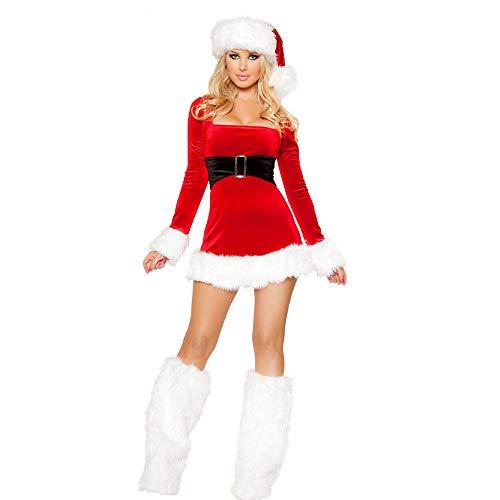 DSQK Babydoll, Camicie da Notte E Négligé Vestito Rosso daNatale delleDonne AdulteCostumiSexy diNatale CostumiSexy di Babbo Natale Costumi di Feste di Cosplay - Red_One_Size