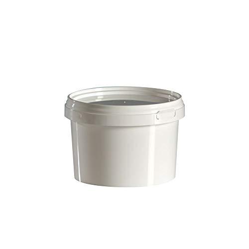 Groku 10 Stück 1 Liter Eimer mit Deckel, weiß, stapelbar, lebensmittelecht