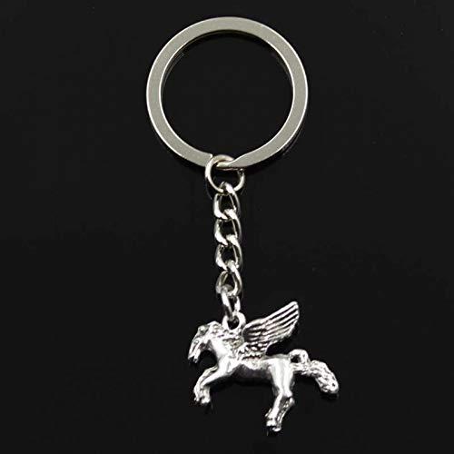 DMAIP Llavero 22X28Mm 3D Fly Horse Color Plateado Colgantes DIY HombresLlavero De Coche Soporte De Anillo Recuerdo para Regalo