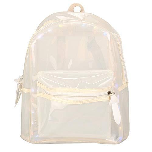 fhdc Rucksäcke Damentaschen Glitter Rucksäcke Gelee Laterne Led Licht Transparent Rucksack Elektronische Tasche Für Mädchen 12 Zoll Weiß