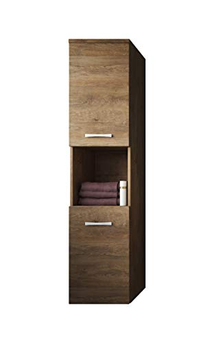 Badplaats B.V. Badezimmer Schrank Montreal 131 cm Lefkas – Regel Schrank Hochschrank Schrank Möbel