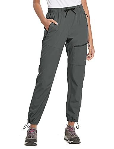 BALEAF Women's Hiking Cargo Pants Outdoor Lightweight Capris Water Resistant UPF 50 Zipper Pockets Steel Gray Size L