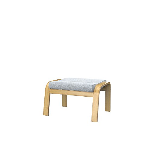 Soferia Funda de Repuesto para IKEA POÄNG reposapiés, Tela Naturel Light Grey, Gris