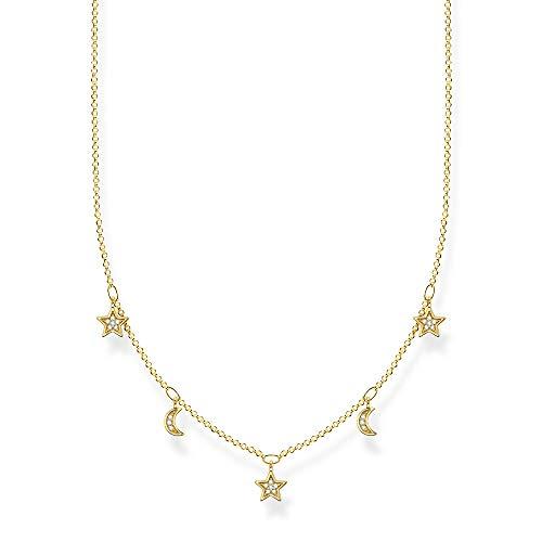 Thomas Sabo Damen Halskette Monde & Sterne gold, 925 Sterlingsilber, 40-45 cm Länge