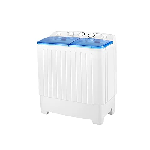 BANGSON Portable Washing Machine, Mini Twin Tub Washer and Dryer Combo with 17.6 lbs Large Capacity, Portable Washer for Apartment, Dorm, RV, Camping, Home White & Blue