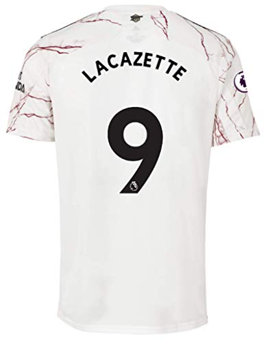 Jertinhf 2020-2021 Men's Away Soccer Jersey/Short Colour White (Arsenal Lacazette #9 (S))