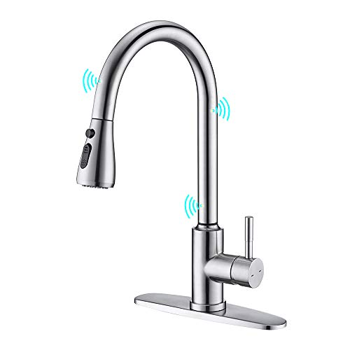 Touchless Kitchen Faucet, ARRISEA Touch-on Activation Kitchen Sink Faucets with Pull Down Sprayer, Brushed Nickel Stainless Steel Kitchen Faucets with Three Water Flow Modes Sprayer F15027