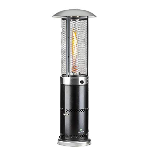 Blumfeldt Goldflame Deluxe Gasheizung mit 36.000 BTU / 11 kW Leistung, Gasofen ausgestattet mit 360° FireView: Brennerzylinder aus Temperglas, mobiler Katalytofen mit elektronischer Zündung, schwarz